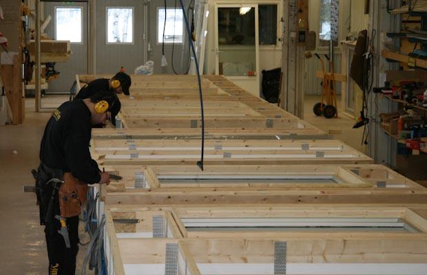 Tillverkning väggblock husfabrik