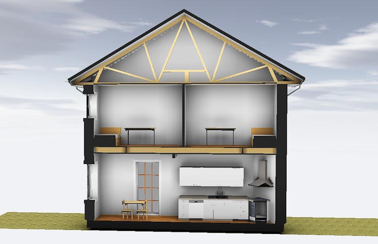 2-planshus konstruktion